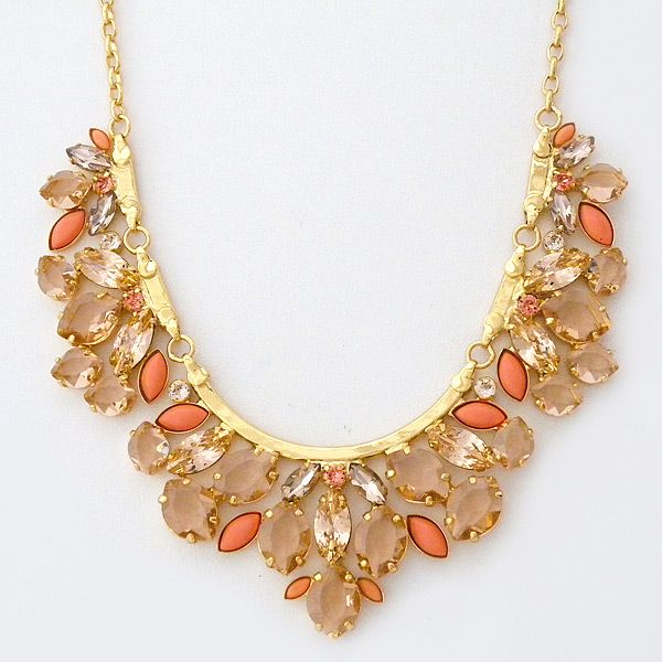 Sorrelli Caribbean Coral Bib Statement Necklace. Fabulous for a beach wedding. Sorrelli Caribbean Coral Collection. Statement necklace in champagne crystals with accents of coral. Think resort, tropics, destination. https://perfectdetails.com/NCY2BGCCO.htm