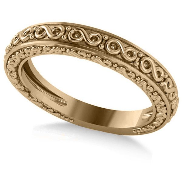allurez infinity design etched wedding band 14k yellow gold 495 liked on polyvore - Wedding Rings Gold