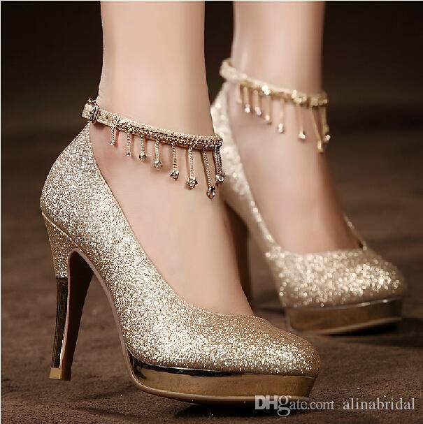 2017Sparkling Golden Lace-up Wedding Bridal Shoes Crystals 10cm High Heel Wedding Party Shoes Rhinestones Prom Dress Women High-heeled Shoes