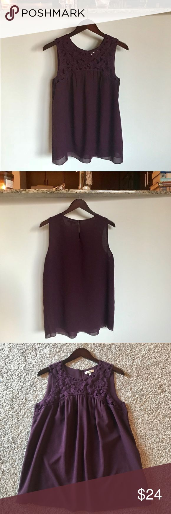 Max Studio. NWOT Knit detailed sleeveless blouse Maintaining a rotating Wardrobe Happy shopping and selling!   -Always 100% authentic  -Price listed is firm, but I offer awesome private discounts on bundles! -Free shipping on all bundles -Same-day ship when possible  CONDITION & DETAILS: Perfect, NWOT never worn; size M, true to size; beautiful deep purple color; knitted detail on top just in the front; lined/ layered (lining not attached on bottom) Max Studio Tops Blouses