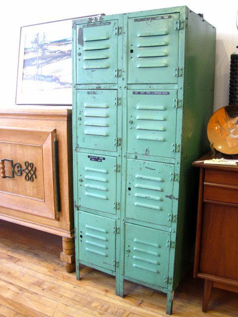 lockers in aqua blue.  these are awesome and would be great in Andrew's room or the mudroom...I am on the lookout!