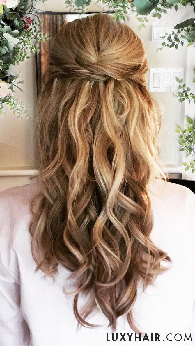 twist-back hairstyle | wedding hair inspiration | long hair