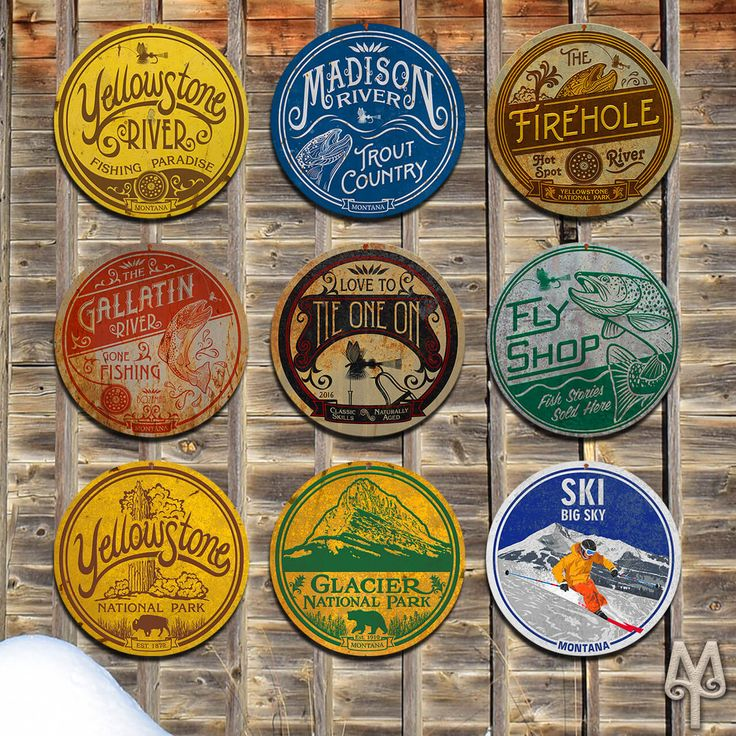 Vintage Fly Fishing, Skiing, and National Parks Wall Signs by Montana Treasures...This year, make a priority of decorating your home, cabin, or man cave with reminders of Montana and fly fishing at its best. Shop now!