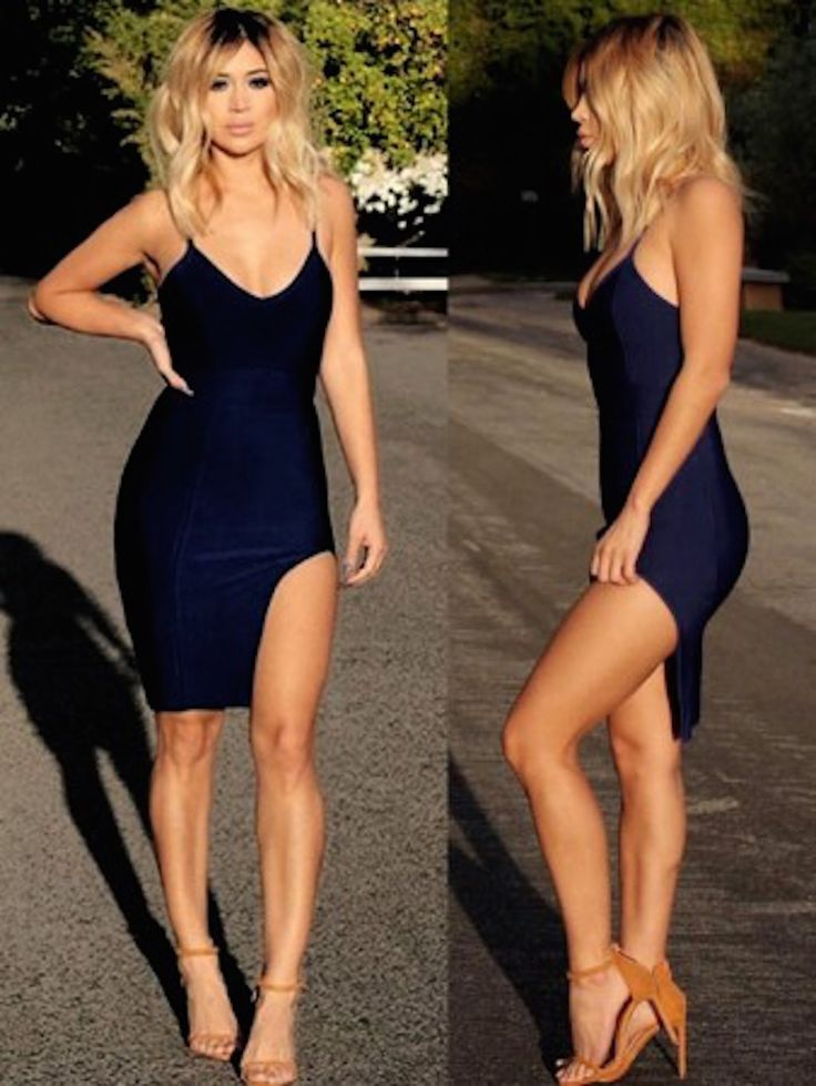 Little black celeb inspired high slit bandage dress. Also available in pink, red, and olive green