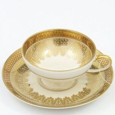 Porcelana Rosenthal.  Filiżanka do kawy, sygnowana Rosenthal Selb Germany, Niemcy, 1942 r.  Porcelana ecru.