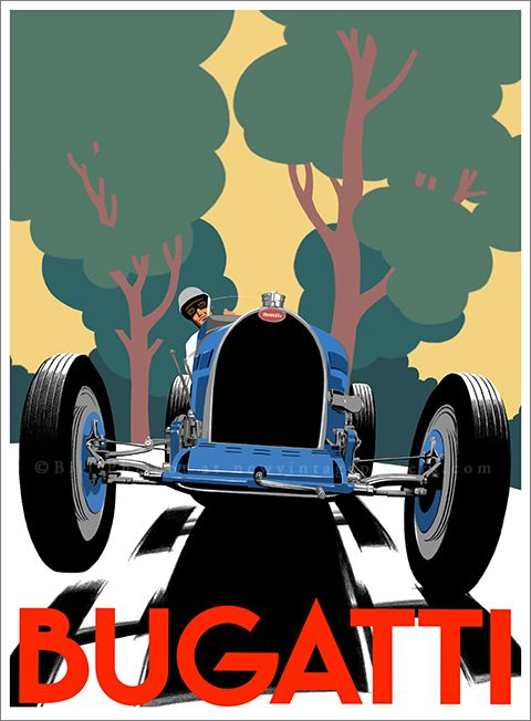 Art Deco Bugatti Type 51 poster by Bill Philpot at newvintageposters.com