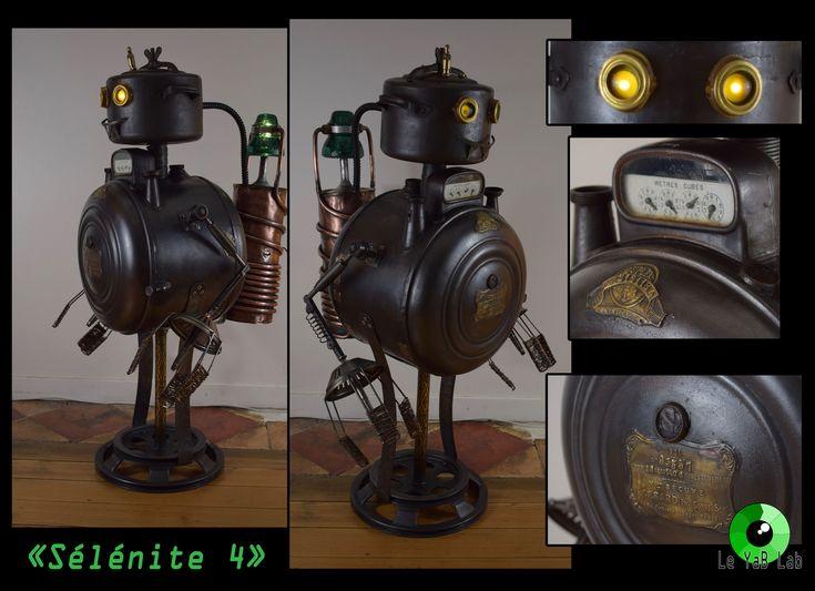 """Sculpture lumineuse """"Sélénite 4"""" Upcycling"""