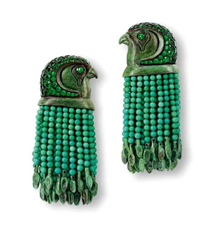 "Earrings | Hemmerle. ""Egyptian Story"" Collection.    Tsavorites, turquoise, white gold and copper."