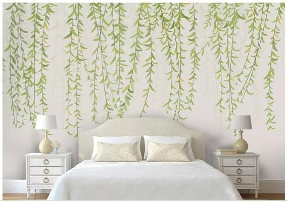Watercolor Hanging Willow Wallpaper Wall Mural Hand Painted Etsy In 2021 Bedroom Wall Designs Bedroom Wall Paint Wall Wallpaper