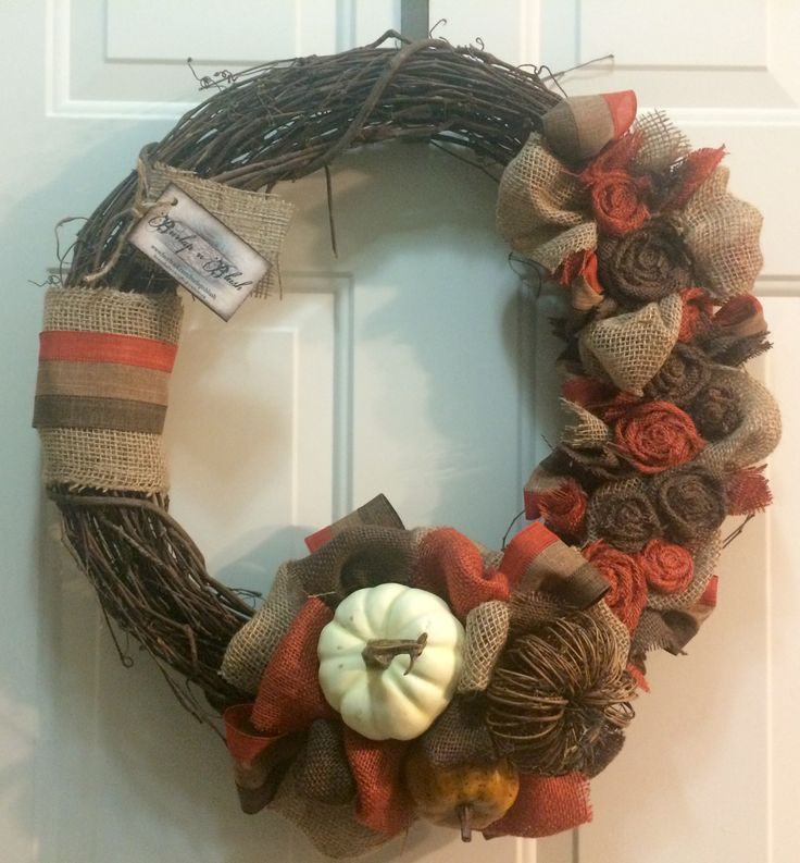 "18"" grapevine wreath perfect for fall!  #gourds #grapevine #wreath #fall"