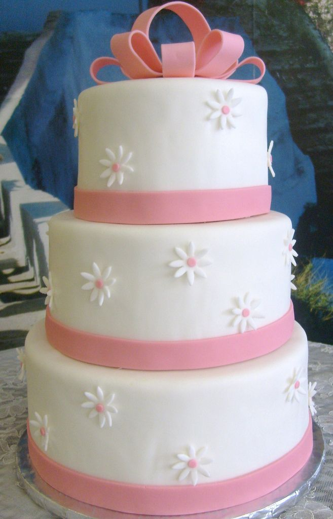 White and Pink quinceanera cake