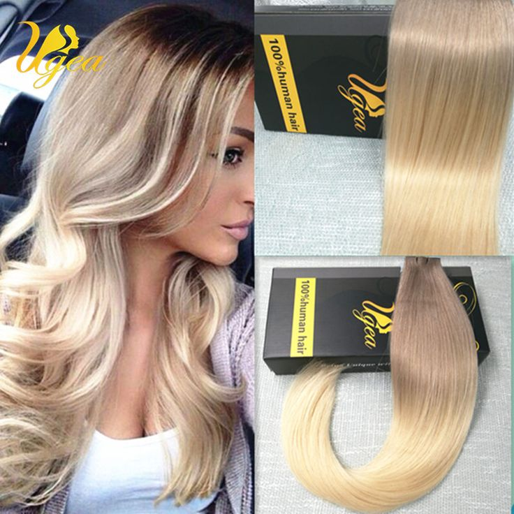 7A Ombre Remy PU Tape in Human Hair Extensions Skin Weft Brown to Blonde Hot #Ugea