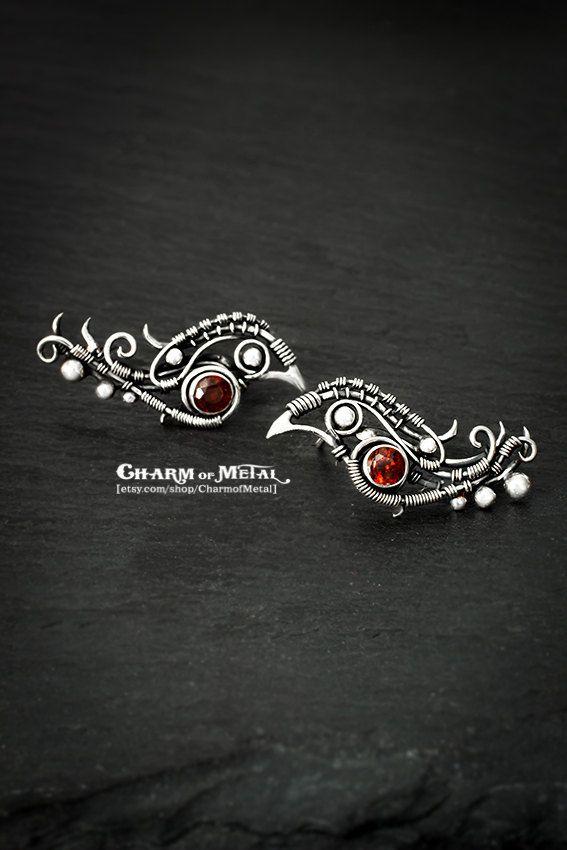 Bullfinches - Sterling silver 925 red garnet birds stud earrings - wire wrap small woman gift sharp jewelry