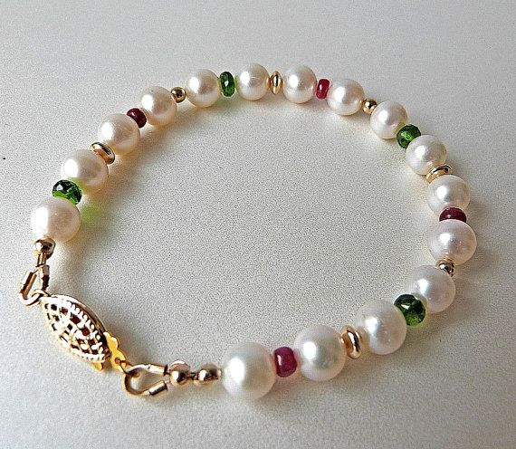Quality White Pearl Bracelet with Genuine Red Rubies Green