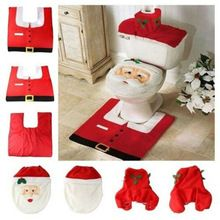 Hot Venda Nova Tampa de Assento Do Toalete e Tapete Do Banheiro Set de Natal Decorações de Natal Para Casa alishoppbrasil