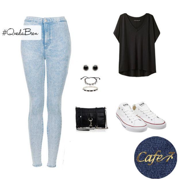Prueba esta combinación y de seguro te encantara:  Jeans #Cafe7, Franela negra suelta, Bolso negro sencillo, Accesorios plateados con negro #Outfit #Viernes #Style