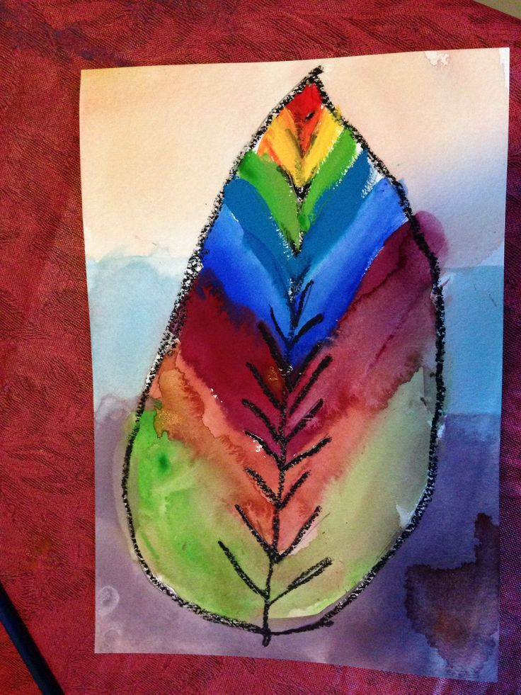 Finished leaf painted with gouache & oil pastel resist in ...