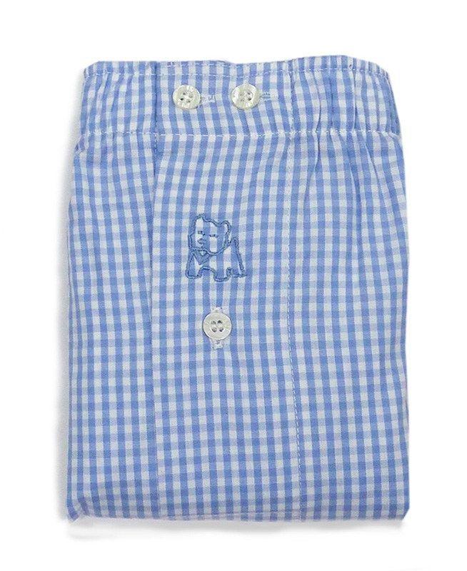 Boxer Kiff-kiff de tela de corte clásico de algodón-popelín con cuadritos (vichy) en azul celeste y blanco. Corte americano, sin costura central - OFERTAS.