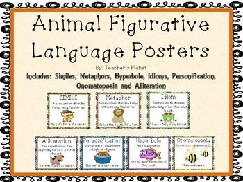 FREE Figurative Language Animal Posters!This set of posters uses animals to help teach the following figurative language terms:SimileMetaphorIdiomHyperboleOnomatopoeiaPersonificationAlliterationEach poster includes a definition and an example. Need more practice with figurative language?
