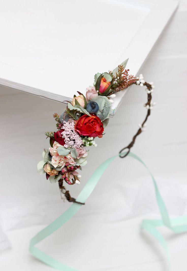 Mint orange floral crown Flower headpiece Wedding hair wreath Bridal halo Girl flower crown Bridesmaid headband Winter wedding by ByKochetova on Etsy https://www.etsy.com/au/listing/488457579/mint-orange-floral-crown-flower