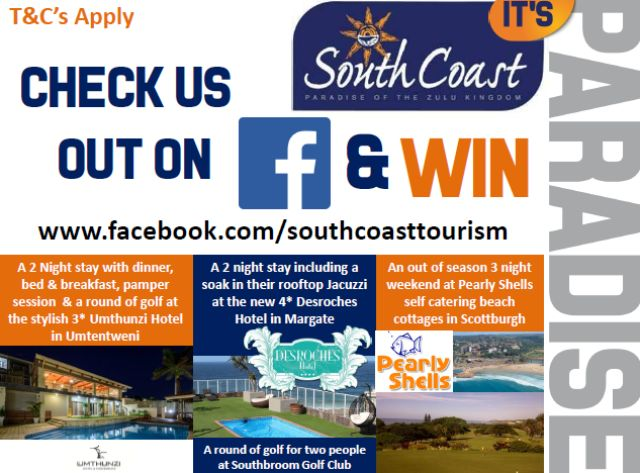 Wow our friends from South Coast Tourism are running a competition on their Facebook page. You can WIN a few nights accommodation on the KZN South Coast at one of our stylish hotels! Click here to be redirected to the contest http://m.pgtb.me/f33vVw