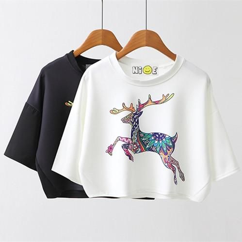 Summer Sexy Casual Cotton Short T Shirt Batwing Sleeve Fashion Deer Animal Print Women Cropped Tops Tshirt White Tees  #fashion #whatiwore #fashionlover #instagood #instamood #glam #fashionblogger #fashiondesigner #LSN #fashionaddict