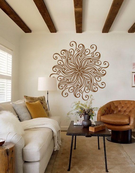 Large Decorative Bohemian Flower Mandala Decal for Living Room, Dorm, Yoga, Studio, Home or Bedroom on Etsy, $58.00