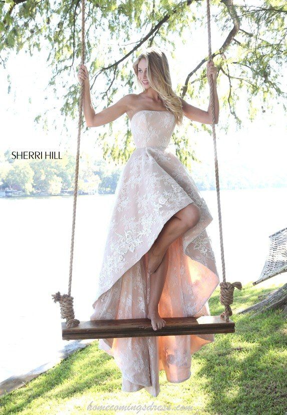 Floral Lace Sherri Hill 51252 Strapless Hi Lo Prom Dress Ivory