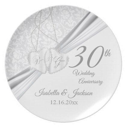30th Wedding Anniversary Keepsake Design Plate - married gifts wedding anniversary marriage party diy cyo #weddinganniversarygifts