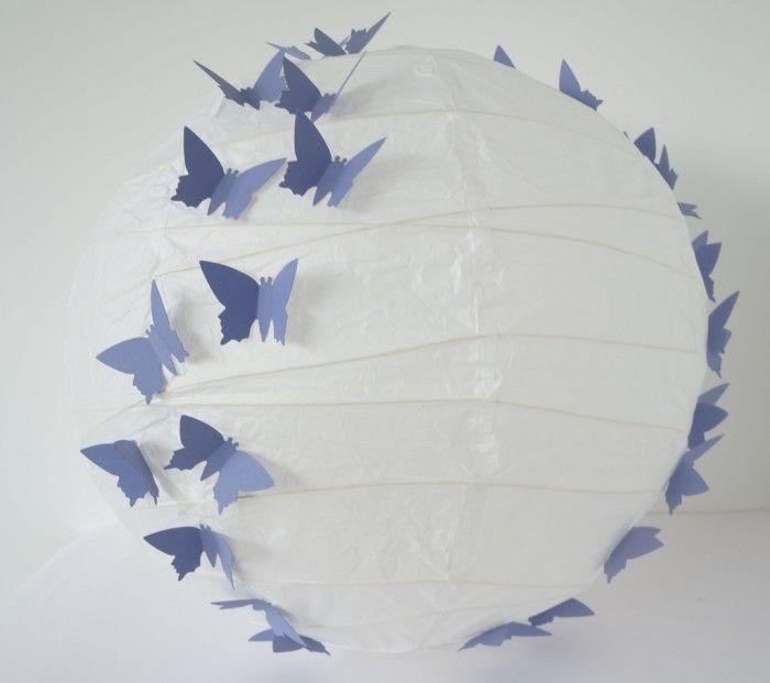 Witte Rijstlamp met Paarse Vlinders