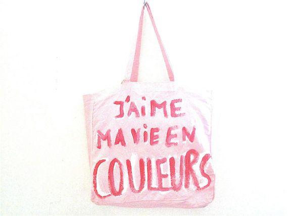 J'aime Ma Vie En Couleurs Large Shopper / My by MyLittleFrenchShop, $89.00