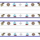 Desk name plates that incorporate the nautical theme with sail boats, anchors, ship wheels and a compass. 2 per page... perfect for printing on car...