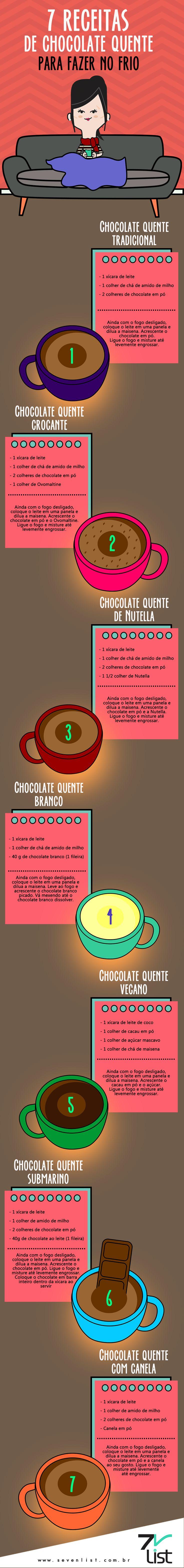 Tradicional, branco, de Nutella e até mesmo vegano. A bebida ideal pra o inverno tem para todos os gostos. Confira 7 receitas de chocolate quente para fazer no frio. #SevenList #Receitas #Chocolate #ChocolateQuente #Drink #Sweet #Tasty #Recipes