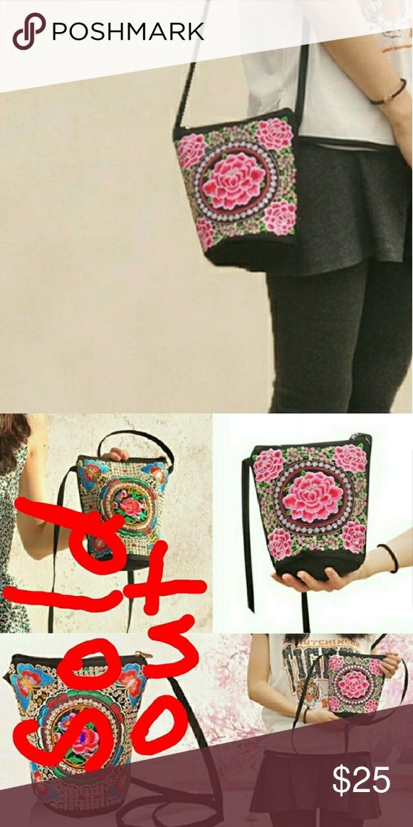 Pink Floral Embroidered Boho Bucket Purse Floral Embroidered Bucket Purse Boho Shoulder Bag. Crossbody  All measurements are approximate...I am only human.  Height: 20cm/7.87 inch (Approx)  Length: 17cm/6.69 inch (Approx)  Strap Length: 110cm/43 in (Approx) Bags Crossbody Bags