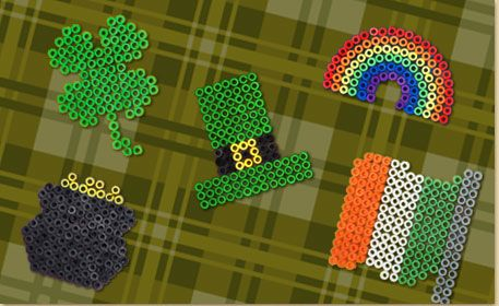 Use Melty Beads and the pegboard shapes shown to create a Shamrock, Leprechaun Hat, Pot of Gold, Irish Flag and Rainbow for St. Patrick's Day.