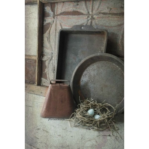 Rustic Farmhouse Bakeware. Collectible prims. Cake Pans. (€14) via Polyvore featuring home, kitchen & dining e bakeware