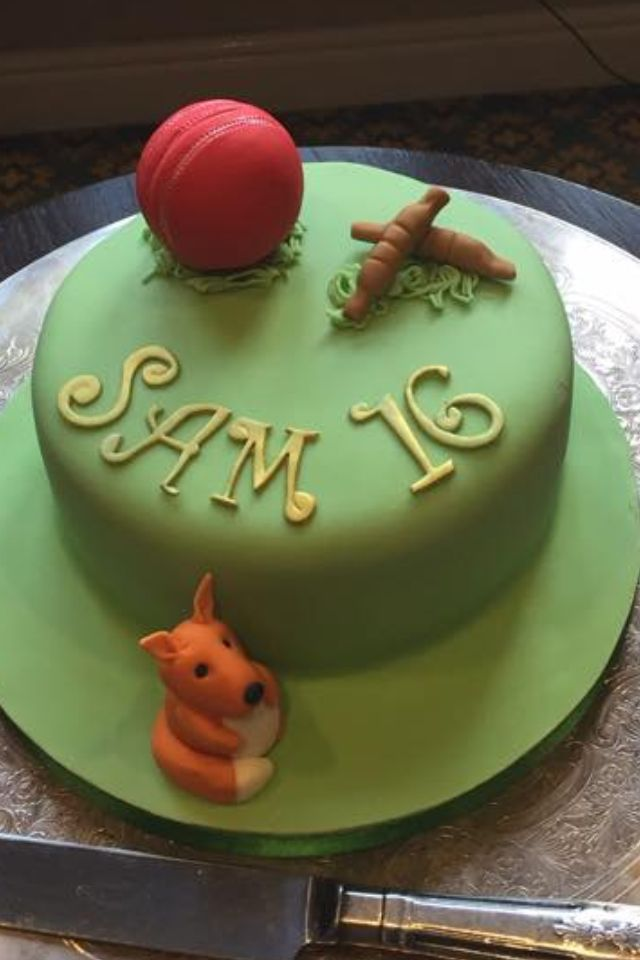 Cake for Cricket Player - the fox represents the team that he plays for