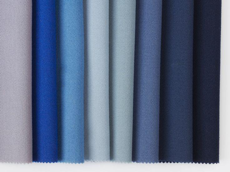 Dagny Fargestudio: Jostedal for Gudbrandsdalen Uldvarefabrik - Blått er den andre store basisfargen og kommer også i en mengde nyanser. Her vises: Lavender, Electric Blue, Indie Blue, Pale Blue, Duck Egg Blue, Denim Blue, Midnight og Black Blue.
