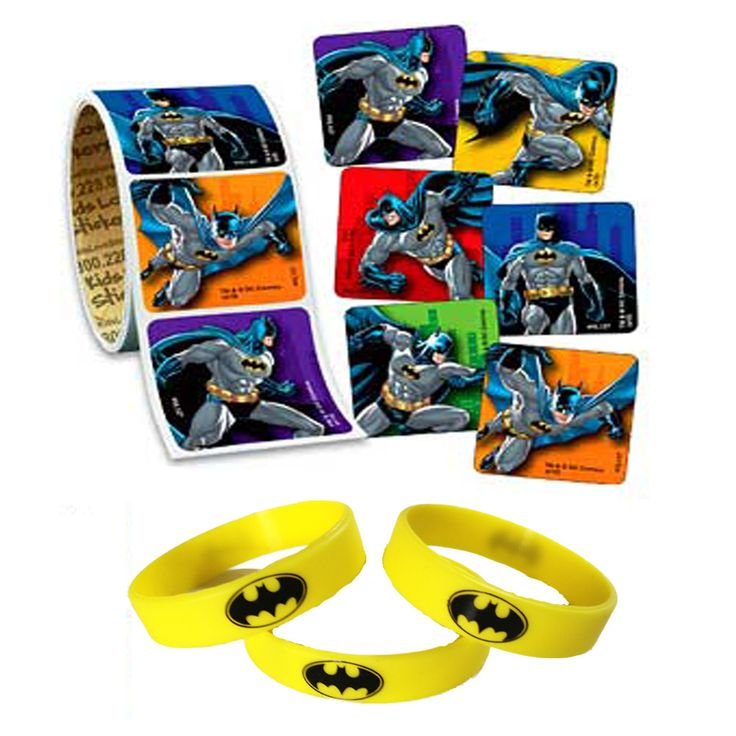 These fun favors are perfect for a Batman birthday party. 12 Youth size wristbands. 24 Assorted Batman Stickers. They will love these.