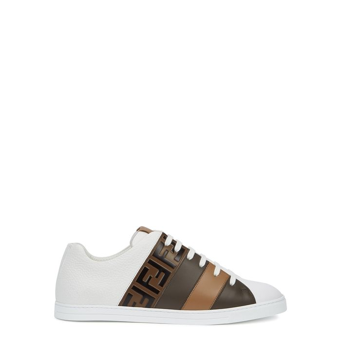 Fendi White Panelled Leather Trainers