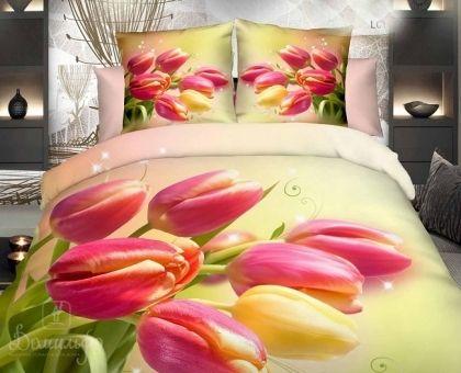 Купить постельное белье из сатина делюкс БУКЕТ ТЮЛЬПАНОВ 3D 1,5-сп от производителя Cleo (Россия)