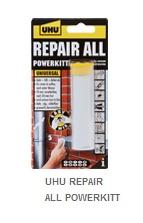 UHU REPAIR ALL POWERKITT  Tamirat, yapıştırma, sıkılaştırma ve doldurma çalışmaları için ideal, reçine bazlı, yoğurularak hazırlanan ve hızlı kuruyan bir yapıştırıcıdır. Taş, beton, metal, tahta, seramik, porselen ve plastik üzerinde uygulanabilir. Neme, -30°C ile +125°C arası sıcaklığa, alkole, yağa, inceltilmiş asit ve eriyiklere karşı dayanıklıdır. Tamamen sertleştikten sonra delme ve bileme işlemleri yapılabilir. 10 dakikada tam yapışma sağlar.