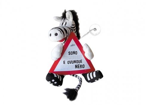 """TIF8 VENTOSINO SEGNALE STRADALE BIANCO/NERI  Peluche con ventosa a forma di zebra Forza Bianconeri con cartello stradale con scritta Sono comunque e ovunque bianco nero"""""""""""