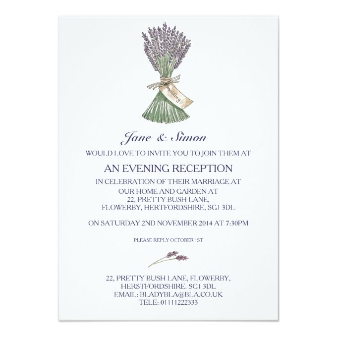 Lavender Country Garden Wedding Evening Invitation