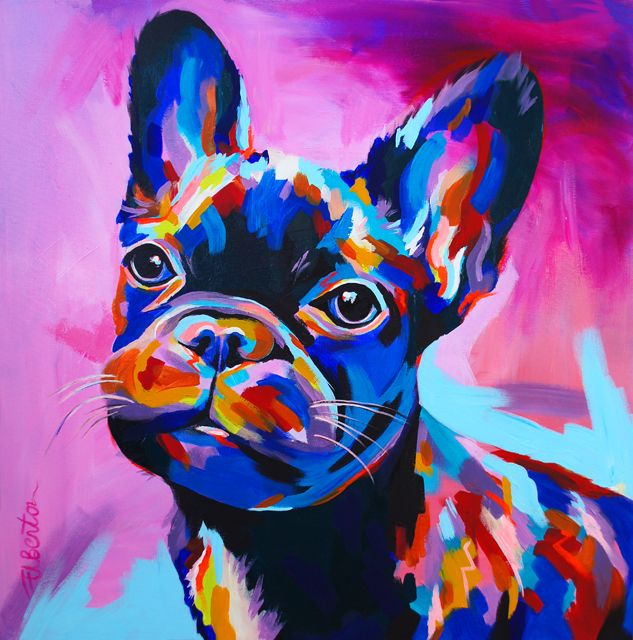 'French Bulldog' 60x60cm by Ellie Benton, acrylic on canvas, the original painting is still available.
