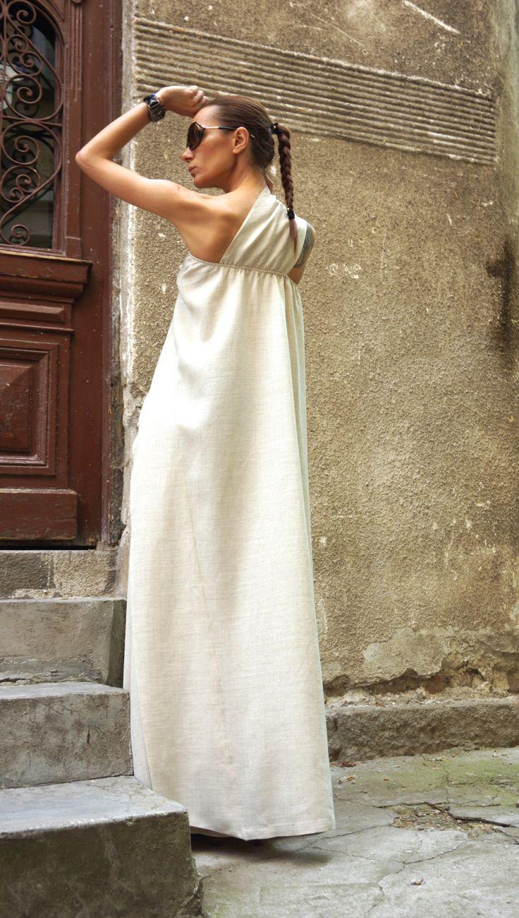 XXL XXXL Maxi abito naturale lino Kaftan vestito / una di Aakasha