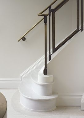 Glass and aged brass railing. Kathryn Scott.