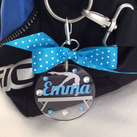 Gymnast on beam Bag Tag by GemLights on Etsy. Personalized with your name and colors. Order yours today at www.gemlights.etsy.com.