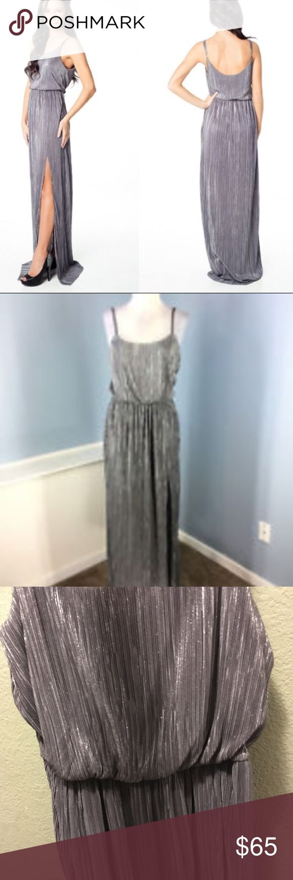 BCBGeneration High Slit Metallic maxi dress. Small Awesome dress. Worn once for a few hours. perfect condition. Smoke free home. BCBGeneration Dresses Maxi
