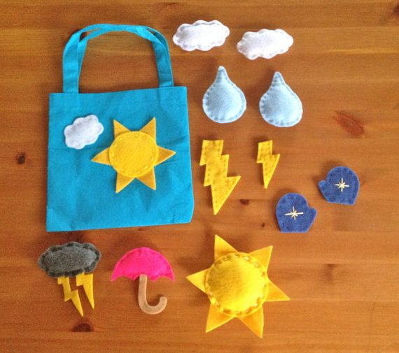 Felt Weather Magnets with Tote by SweetGabbie on Etsy, $22.00